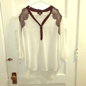 Black lace detail sheer 3/4 sleeve blouse